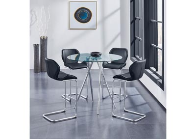 Glass-Top Round Bar Table w/4 Black Barstool