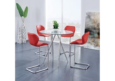 Glass-Top Round Bar Table w/4 Red Barstool