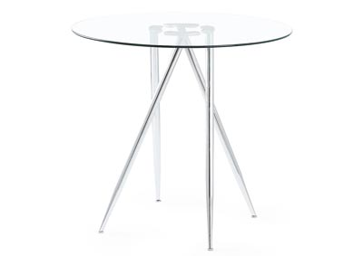 Clear/Chrome Round Bar Table