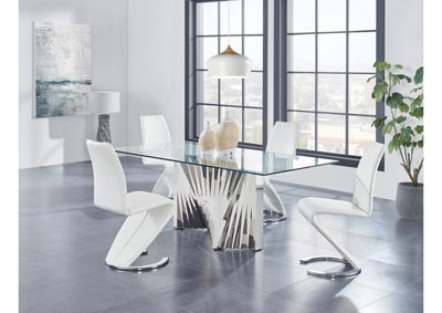 Glass-Top Dining Table w/4 White Dining Chair