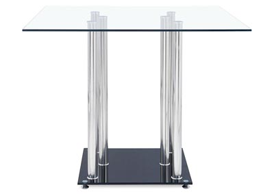 Clear/Black Square Bar Table
