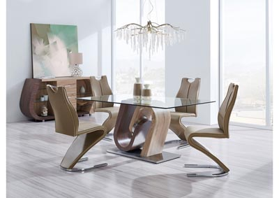 Brown Walnut Glass-Top Dining Table w/4 Dining Chairs