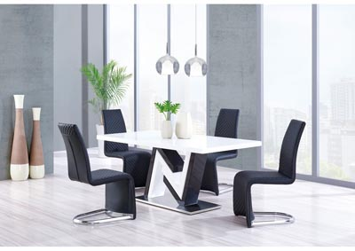 White/Black Glass-Top Dining Table w/4 Dining Chairs