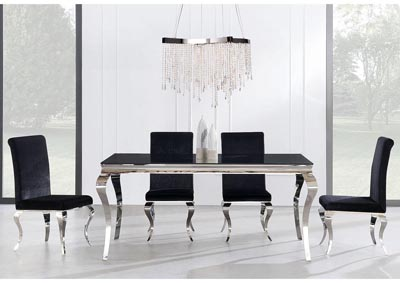 Black Glass-Top Dining Table w/4 Chair