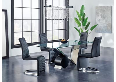 Matte Black/Stainless Steel Dining Table w/4 Black Dining Chairs