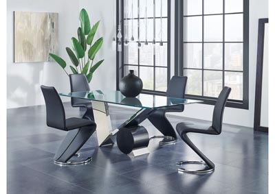 Matte Black/Stainless Steel Dining Table w/4 Black Dining Chair