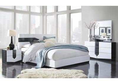 Hudson Zebra Grey/White King Platform Bed w/Dresser & Mirror