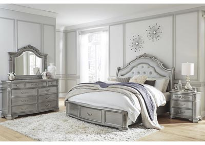 Juliet Silver King Storage Bed w/Dresser and Mirror