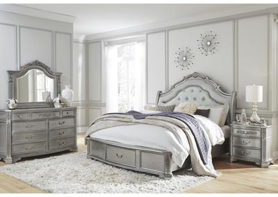 Juliet Silver Queen Storage Bed w/Dresser and Mirror