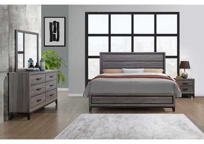 Kate Foil Grey Queen Panel Bed w/Dresser and Mirror