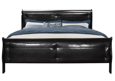 Marley Black Upholstered Sleigh King Bed