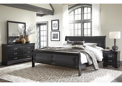 Marley Black Queen Upholstered Sleigh Bed w/Dresser, Mirror, Nightstand and Drawer Chest