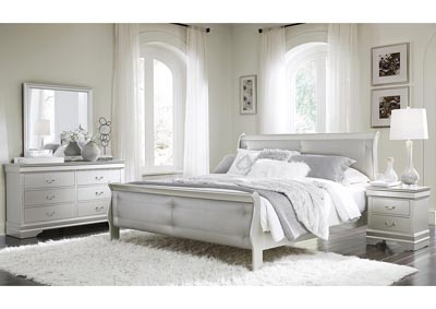 Marley Silver Queen Upholstery Panel Bed w/Dresser and Mirror