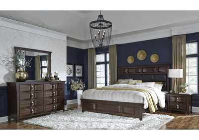 Monterey Queen Upholstered Bed w/Dresser and Mirror