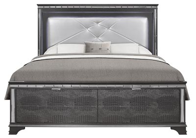 Penelope Metallic Grey King Bed