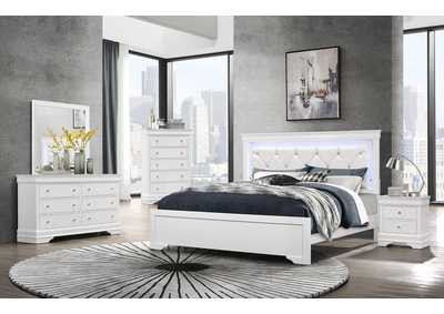 Pompei Metallic White Queen Upholstered Bed w/Dresser and Mirror