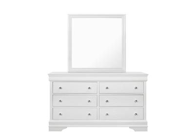 Pompei Metallic White Dresser and Mirror