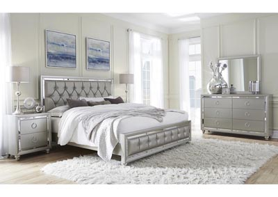 Riley Silver Upholstered Panel King Bed w/Dresser, Mirror, Nightstand and Drawer Chest