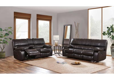 Agnes Espresso/Black Reclining Sofa and Loveseat w/Console