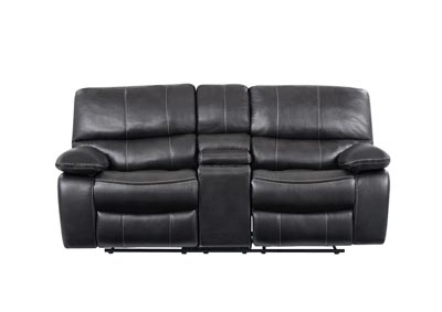 Grey/Black Console Reclining Loveseat