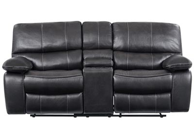 Grey/Black Reclining Loveseat w/Console