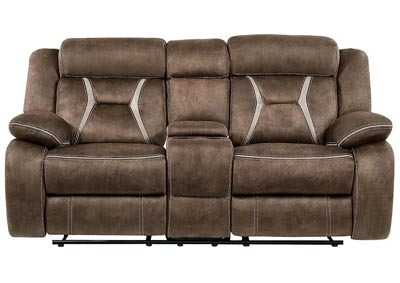 Sultry Dark Brown/Pecan Reclining Loveseat w/Console