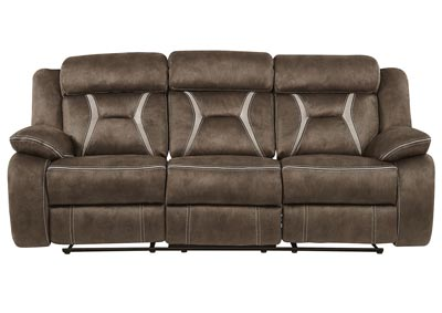Sultry Dark Brown/Pecan Reclining Sofa