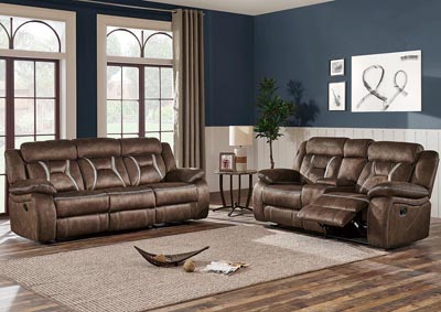Sultry Dark Brown Reclining Sofa & Loveseat w/Console