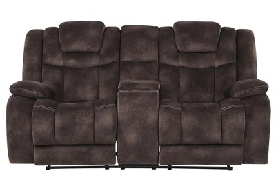 Image for Night Range Chocolate Power Reclining Loveseat w/Drop-Down Table, Headrest & USB