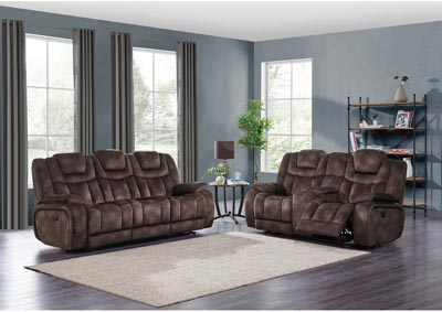 Image for Night Range Chocolate Power Reclining Sofa & Loveseat w/Drop-Down Table, Headrest & USB
