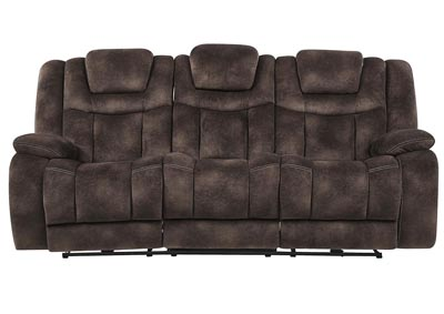 Night Range Chocolate Power Reclining Sofa w/Drop-Down Table, Headrest & USB