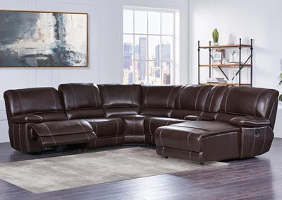 Robinson Furniture Detroit Agnes Brown 6 Piece Power Reclining
