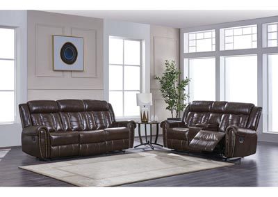 Chocolate Leather Reclining Sofa and Loveseat,Global Furniture USA
