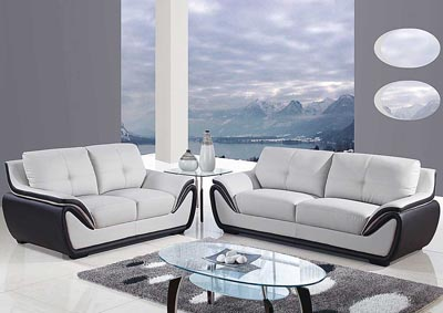 Image for Natalie Light Grey/Black Sofa & Loveseat