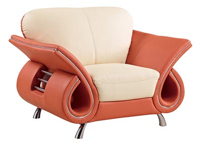 Beige & Orange Leather Chair