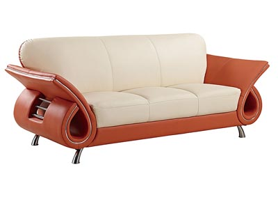 Beige & Orange Leather Sofa