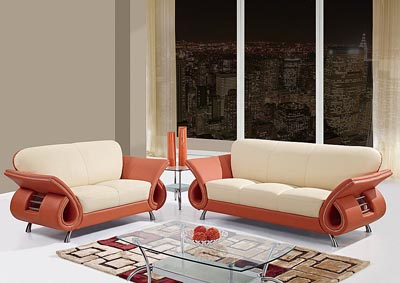 Beige & Orange Leather Sofa & Loveseat