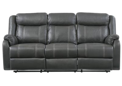 Gin Rummy Charcoal Reclining Sofa w/Drop-Down Table