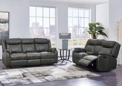 Image for Gin Rummy Charcoal Reclining Sofa & Loveseat w/Console, Drop-Down Table & Drawer