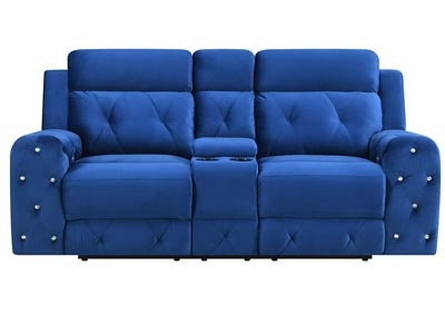 Blue Power Reclining Loveseat w/Console