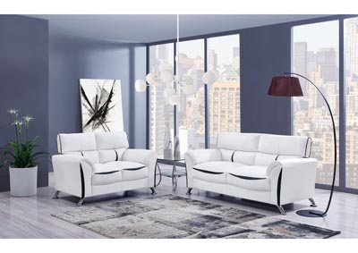 White/Black Sofa and Loveseat