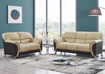 Cappuccino & Chocolate Sofa & Loveseat