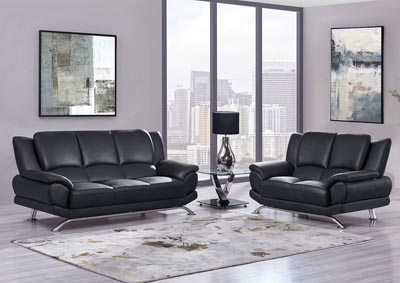 Image for Black Sofa & Loveseat w/Chrome Legs