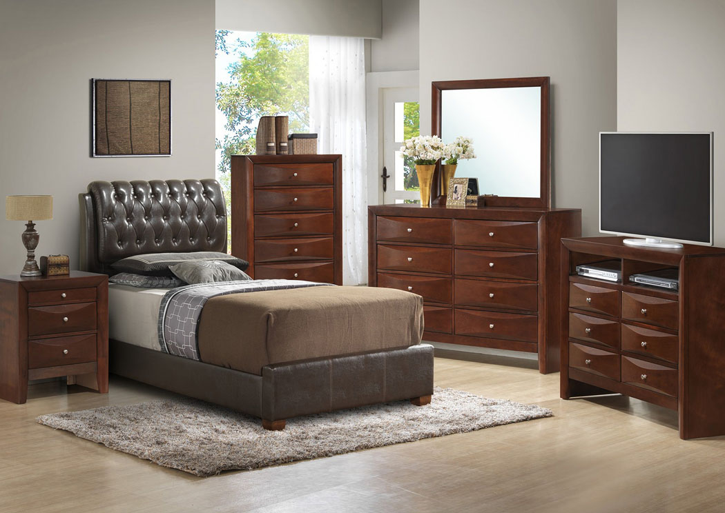 Cherry Full Upholstered Bed, Dresser, Mirror & Night Stand,Glory Furniture