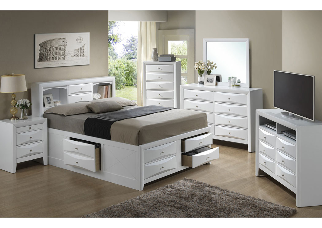 White Queen Storage Bookcase Bed, Dresser & Mirror,Glory Furniture
