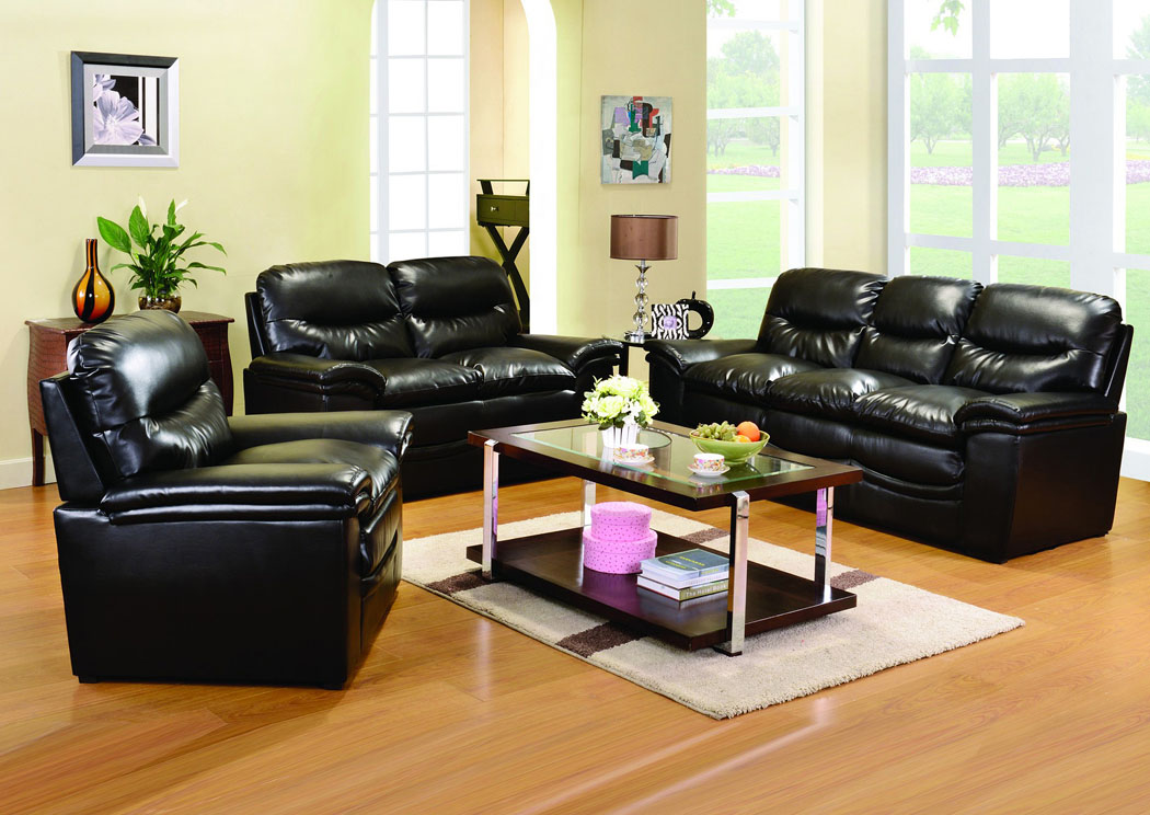 Black Bonded Leather Sofa U0026 Loveseat,Glory Furniture