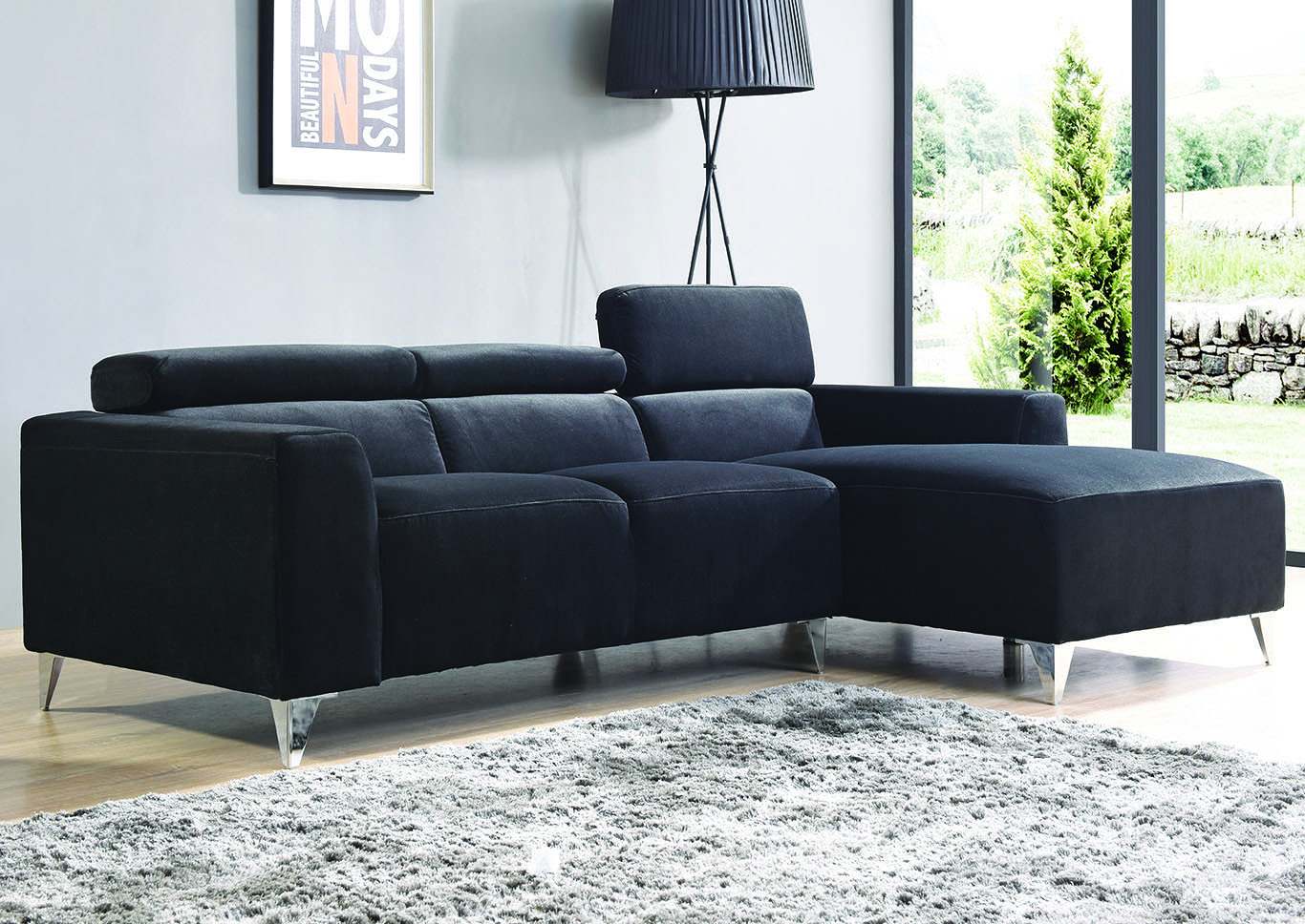 Furniture Direct NJ Black Velvet Micro Suede Sofa Sectional