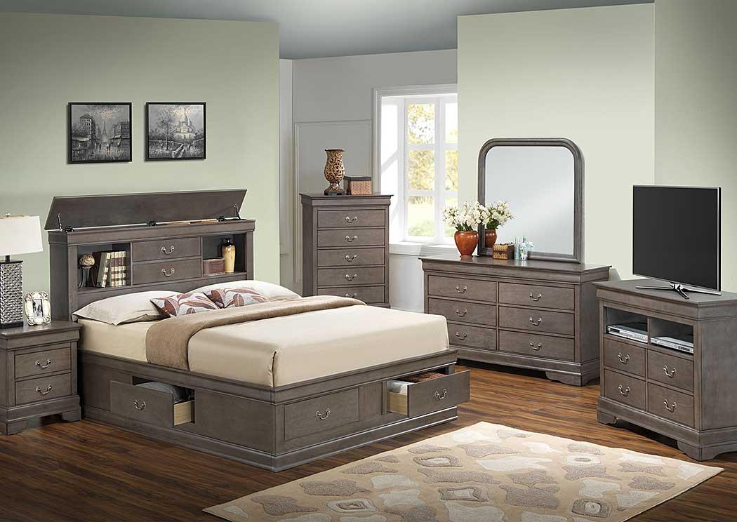 American Furniture Design Grey King Storage Bed, Dresser