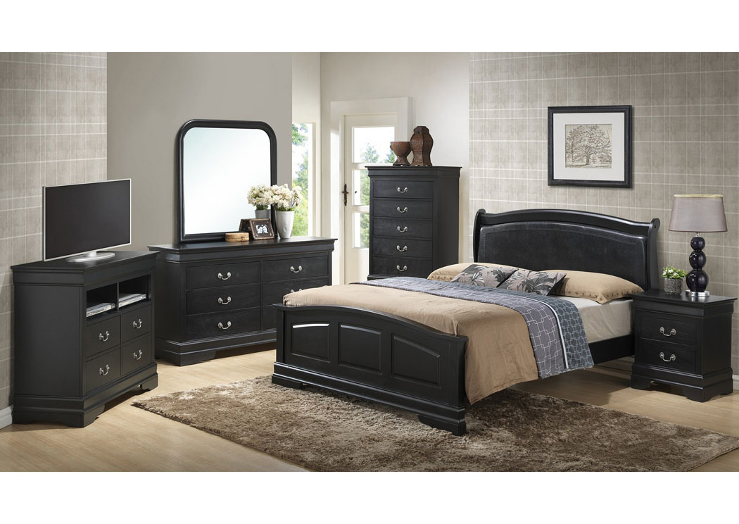 Maddys Home Black King Low Profile Upholstered Bed Dresser Mirror