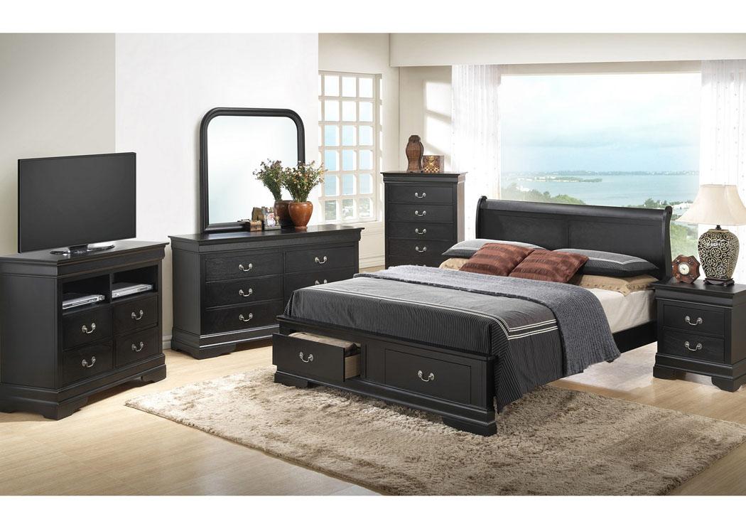 American Furniture Design Black Queen Low Profile Storage Bed